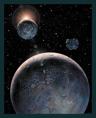 Pluto and Charon by David A Hardy